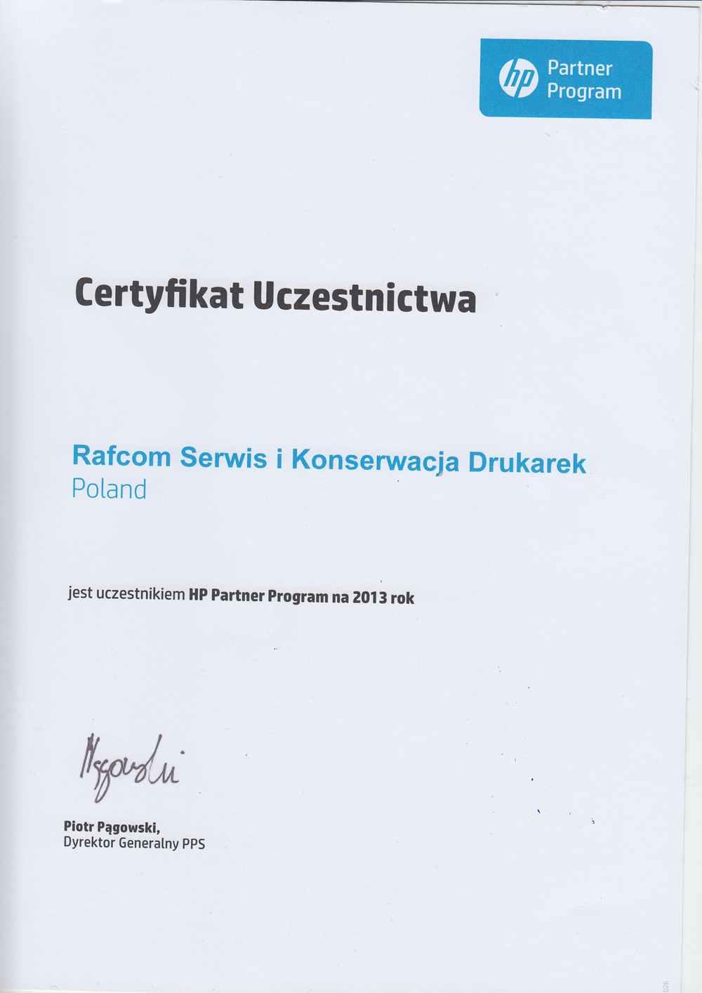 Hp Partner Program dla Rafcom Serwis Drukarek Katowice Wojwódzka 31