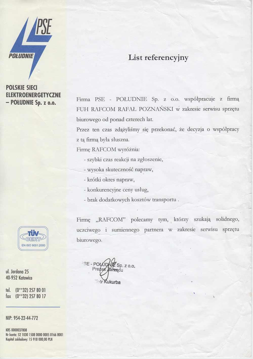 List referencyjny dla firmy Rafcom Katowice