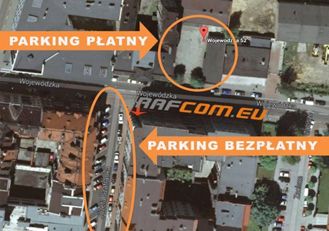 Miejsca parkingowe przy serewisie