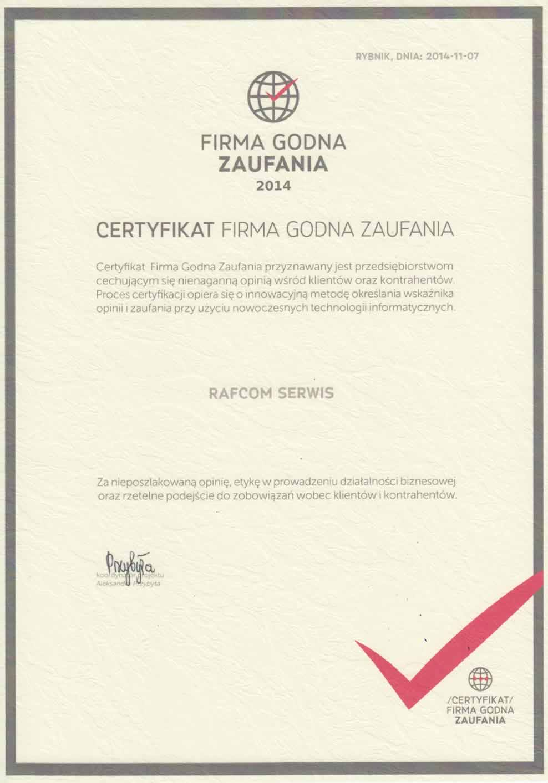 Certyfikat Firma Godna Zaufania Rafcom Katowice